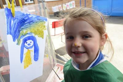 Great Witchingham Primary School - Painting outdoors