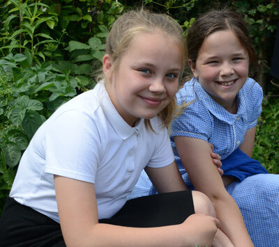 In the garden at Great Witchingham Primary School